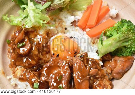 Roasted Chicken Dressing Teriyaki Japanese Sauce On Rice With Boiled Egg And Vegetable In Bowl