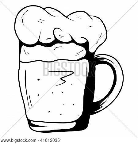 Mug With Ale. Beer In A Glass Mug. Alcohol. Bar. Cartoon Style.