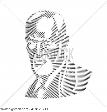 Sigmund Freud - Father Of Psychoanalysis, Portrait. Engraving. Ego, Superego, Libodo, Sexuality. Vec