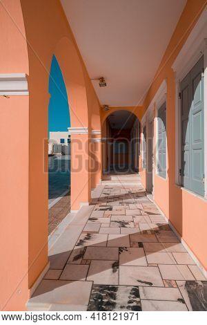 Architectural details of Oia village on Santorini island, Greece
