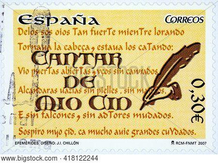 Spain - Circa 2007: A Stamp Printed In Spain Shows Cantar De Mio Cid Spain's National Hero Circa 200