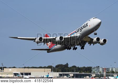 Findel - Luxembourg, July 8, 2018: Cargolux Boeing 747-8 Jumbo Jet Lx-vca Cargo Plane Departure At L