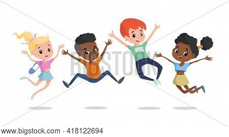 Happy Children Jumping And Laughing. Multiracial School Age Children Illustration. Best For Posters,