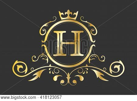 Golden Stylized Letter H Of The Latin Alphabet. Monogram Template With Ornament And Crown For Design