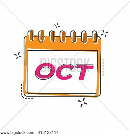 October. A Flip Calendar Sheet With The Name Of The Month Of The Year. Flat Style.