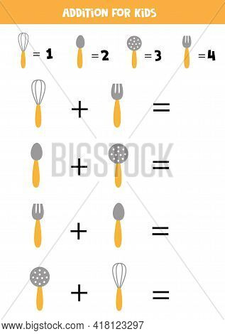 Addition With Different Kitchen Cutlery. Educational Math Game For Kids.