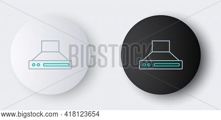 Line Kitchen Extractor Fan Icon Isolated On Grey Background. Cooker Hood. Kitchen Exhaust. Household