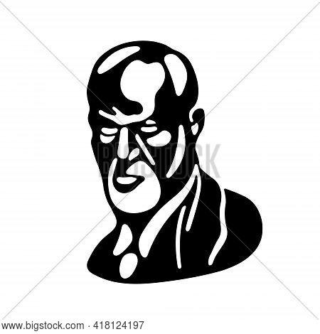 Sigmund Freud - The Father Of Psychoanalysis, Portrait. Stencil In Black. Ego, Superego, Libodo, Sex