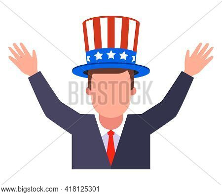 Joyful American In A Hat With His Hands Up. Flat Vector Illustration Isolated On White Background.