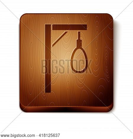 Brown Gallows Rope Loop Hanging Icon Isolated On White Background. Rope Tied Into Noose. Suicide, Ha