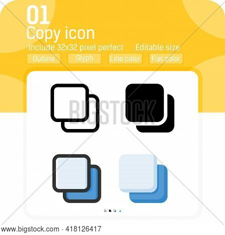 Various Clone Icon With Outline Style Isolated On White Background. Vector Illustration Copy Flat St