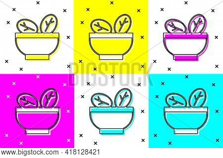 Set Salad In Bowl Icon Isolated On Color Background. Fresh Vegetable Salad. Healthy Eating. Vector