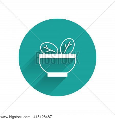 White Salad In Bowl Icon Isolated With Long Shadow. Fresh Vegetable Salad. Healthy Eating. Green Cir