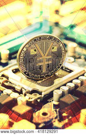 E-rmb Gold Coin, Chinese Digital Yuan, Conceptual Image Of The Digital Version Of The Yuan. Chinese