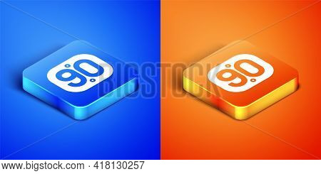 Isometric 90s Retro Icon Isolated On Blue And Orange Background. Nineties Poster. Square Button. Vec