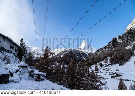 View On Matterhorn From Zermatt On Sunny Day