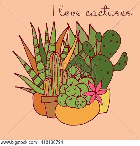 Postcard. I Love Cactuses. Vector. Cactuses. Bright Postcard. Color Illustration.