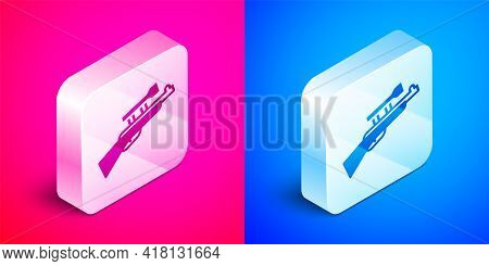 Isometric Sniper Rifle With Scope Icon Isolated On Pink And Blue Background. Silver Square Button. V