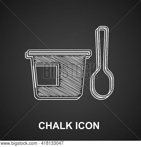 Chalk Yogurt Container With Spoon Icon Isolated On Black Background. Yogurt In Plastic Cup. Vector
