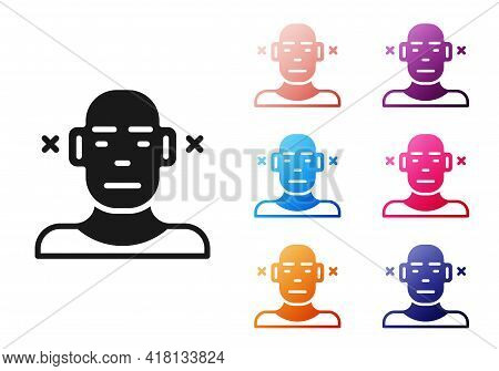 Black Deafness Icon Isolated On White Background. Deaf Symbol. Hearing Impairment. Set Icons Colorfu