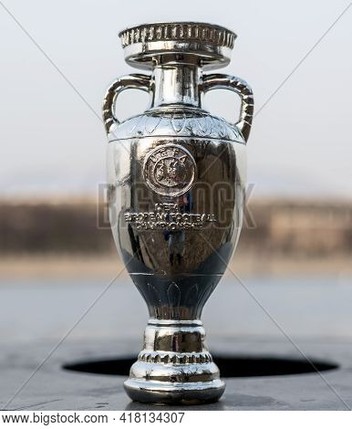 April 13, 2021 Moscow, Russia. European Championship Cup On The Background Of The Luzhniki Stadium.