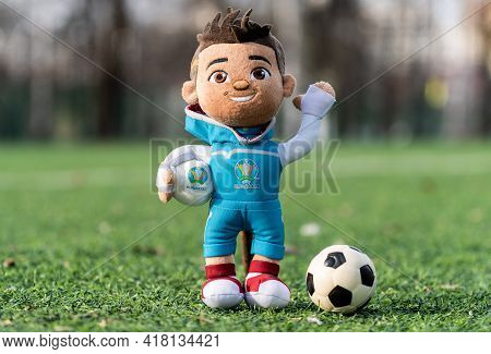 April 16, 2021 Moscow, Russia. Soft Toy Mascot Of The European Football Championship 2020 Skillzy On