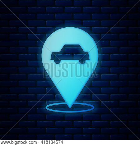 Glowing Neon Location With Car Service Icon Isolated On Brick Wall Background. Auto Mechanic Service