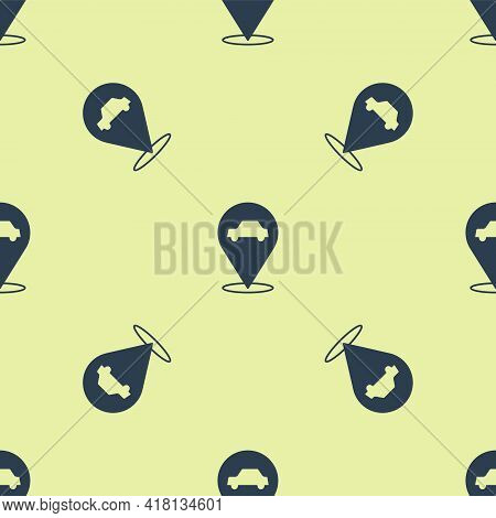 Blue Location With Car Service Icon Isolated Seamless Pattern On Yellow Background. Auto Mechanic Se