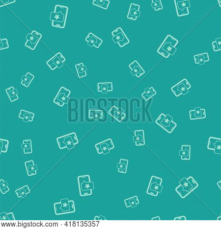Green Mobile Phone With Review Rating Icon Isolated Seamless Pattern On Green Background. Concept Of