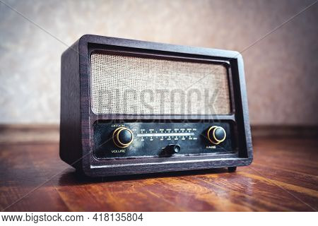 Retro Radio. Old Vintage Music Player In 60s Style. Dusty Receiver, Speaker And Boombox. Technology