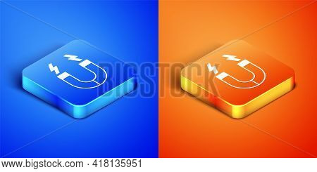 Isometric Magnet Icon Isolated On Blue And Orange Background. Horseshoe Magnet, Magnetism, Magnetize