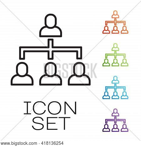 Black Line Business Hierarchy Organogram Chart Infographics Icon Isolated On White Background. Corpo
