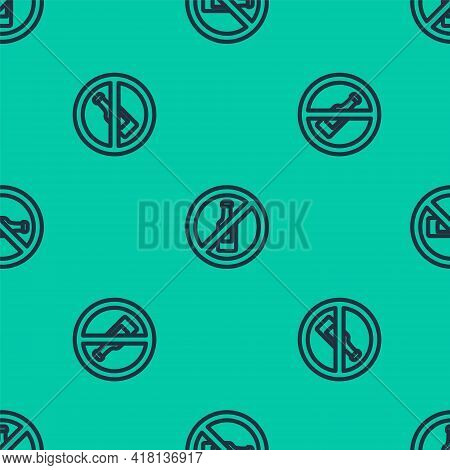 Blue Line No Alcohol Icon Isolated Seamless Pattern On Green Background. Prohibiting Alcohol Beverag