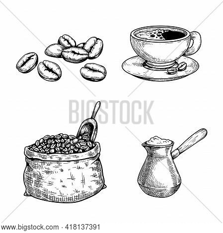 Sketch Coffee Set. Coffee Beans And Bag With Spoon, Cup Of Coffee, Turkish Coffee Maker Cezve. Hand