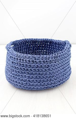 Blue Basket Crocheted From Polyester Cord, Handmade