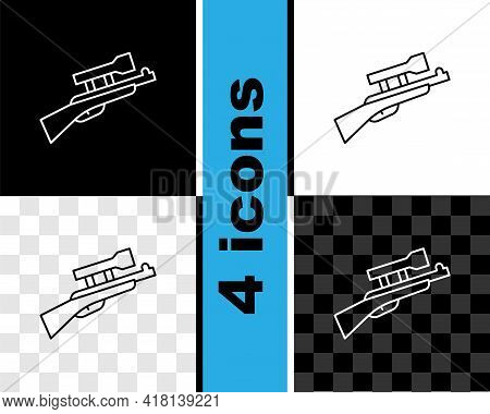Set Line Sniper Rifle With Scope Icon Isolated On Black And White, Transparent Background. Vector