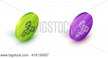 Isometric Line Mafia Icon Isolated On White Background. Boss And Gangsters. Green And Purple Circle