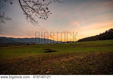 Fall In Cades Cove At Sunset In Great Smoky Mountains National Park
