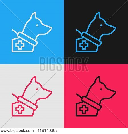 Pop Art Line Guide Dog Icon Isolated On Color Background. Vector