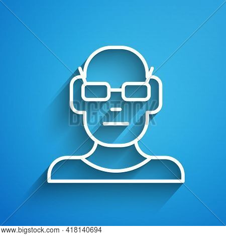 White Line Poor Eyesight And Corrected Vision With Optical Glasses Icon Isolated On Blue Background.