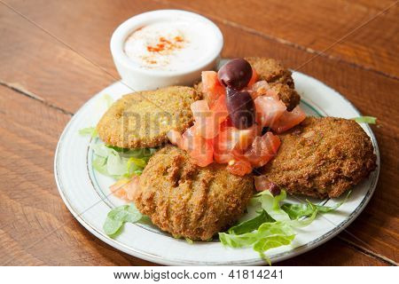 Plate of Falafel with Tahini