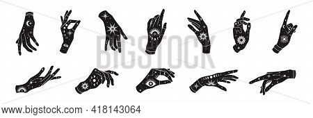 Vector Set Of Woman Hands With Mystical Magic Symbols-eyes, Sun, Phrases Of Moon, Stars, Jewels. Spi