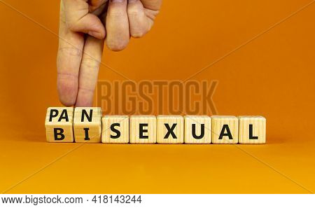 Pansexual Or Bisexual Symbol. Doctor Turns Wooden Cubes And Changes The Word 'bisexual' To 'pansexua