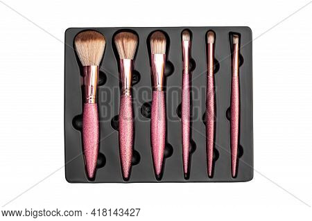 Brushes For Makeup In Box. Isolated On White.