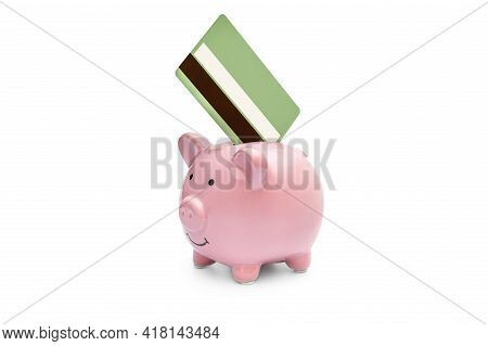Piggy Bank With Credit Card On White.