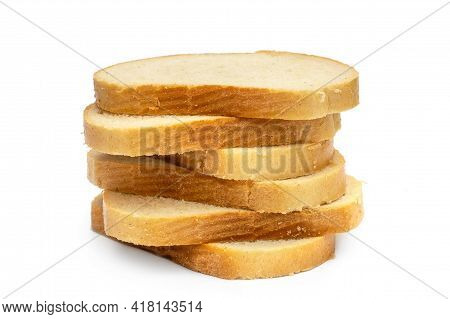Stack Of Sliced Bread On White Background.