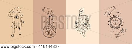 Vector Poster Set Of Mystical Magic Objects- Woman Hands, Moon, Sun, Stars, Planets, Snake. Trendy M