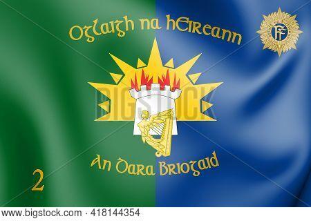 3d Flag Of 2nd Brigade, Ireland. 3d Illustration.