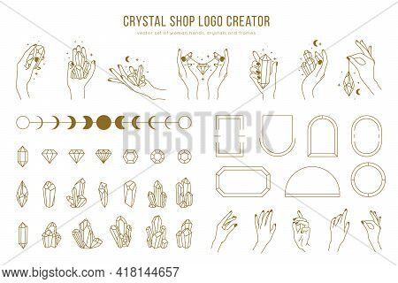 Crystal Shop Vector Logo Creator With Different Woman Hands, Frames, Gemstones And Female Hands Hold