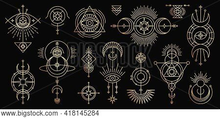 Vector Golden Set Of Mystical Magic Symbols. Spiritual Occultism Line Objects With Sun, Moon, Stars,